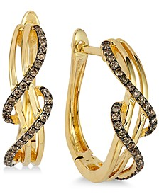 Chocolatier® Wavy Diamond Hoop Earrings (1/4 ct. t.w.) in 14k Gold