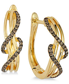 Le Vian Chocolatier® Wavy Diamond Hoop Earrings (1/4 ct. t.w.) in 14k Gold