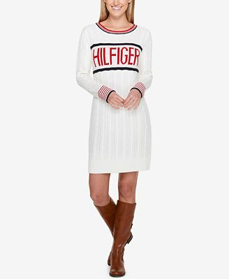 Tommy Hilfiger Cable Knit Logo Sweater Dress Created For Macys