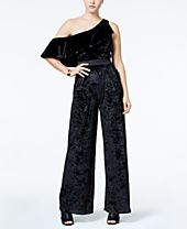 XOXO Juniors' Velvet One Shoulder Ruffle Jumpsuit