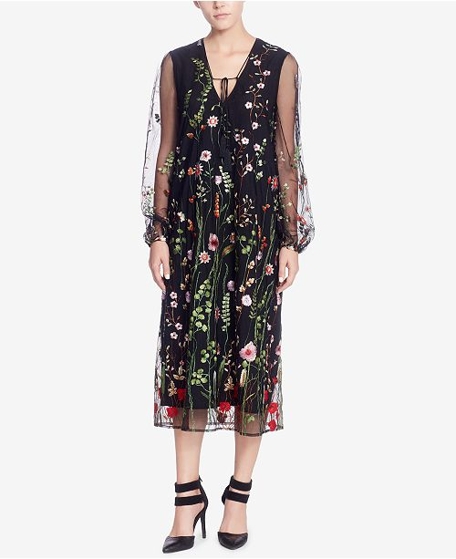 Catherine Malandrino Embroidered Mesh Dress
