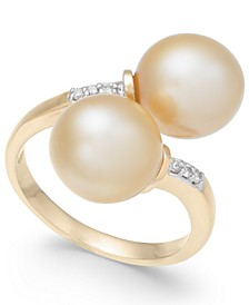 Cultured Golden South Sea Pearl (9mm) and Diamond Accent Bypass Ring in 14k Gold