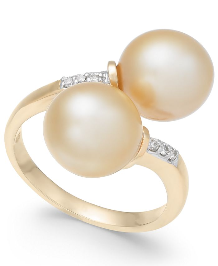 Macy's - Cultured Golden South Sea Pearl (9mm) and Diamond Accent Bypass Ring in 14k Gold