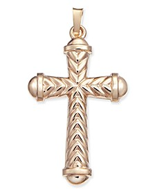 Textured Cross Pendant in 14k Gold