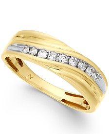 Men's Diamond Swirl Band (1/4 ct. t.w.) in 10k Gold