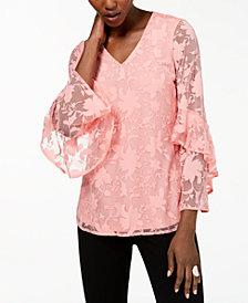 Alfani Petite Lace Ruffled-Sleeve Top, Created for Macy's