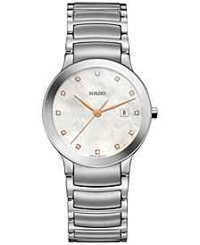 Rado Women's Swiss Centrix Diamond-Accent Stainless Steel Bracelet Watch 28mm
