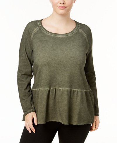 Style & Co Plus Size High-Low Hem Ruffled Top, Created for Macy's