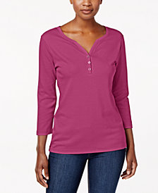 Karen Scott Petite Cotton Henley Top, Created for Macy's