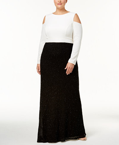 Adrianna Papell Plus Size Colorblocked Beaded Gown