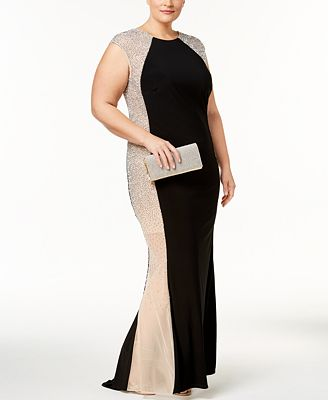 Xscape Plus Size Embellished Colorblocked Gown