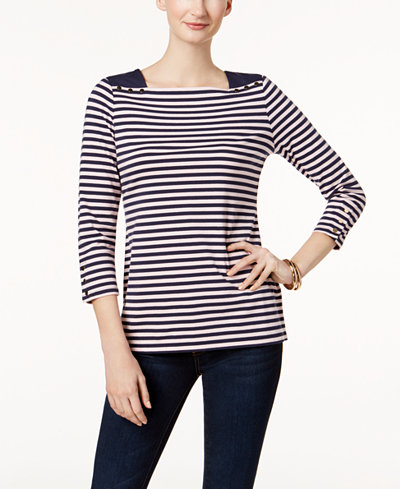 Charter Club Snap-Cuff Square-Neck Top, Created for Macy's