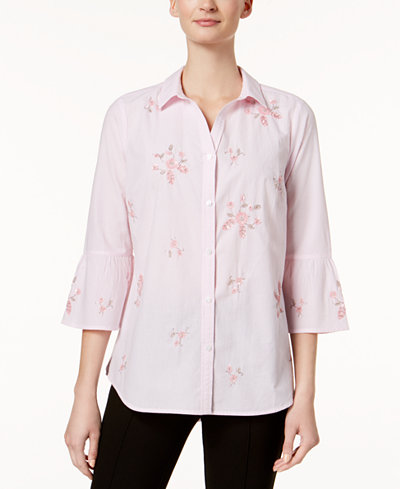 Charter Club Cotton Embellished Bell-Sleeve Shirt, Created for Macy's