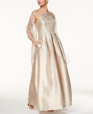 Vince Camuto Embellished Apron Gown U0026 Shawl