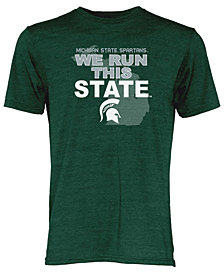 Blue 84 Michigan State Spartans NCAA Men's We Run This State Tri-Blend T-Shirt