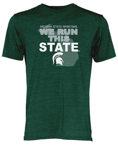Blue 84 Michigan State Spartans NCAA Men's We Run This State Tri-Blend T-Shirt