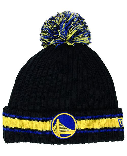 New Era Golden State Warriors Basic Chunky Pom Knit Hat - Sports Fan ... fe8a5611cd5c