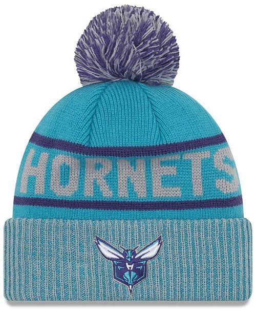 official photos ec657 d91f0 ... cheap new era charlotte hornets court force pom knit hat sports fan shop  722d5 8db8e