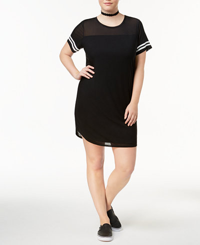 Almost Famous Trendy Plus Size Striped Mesh Dress