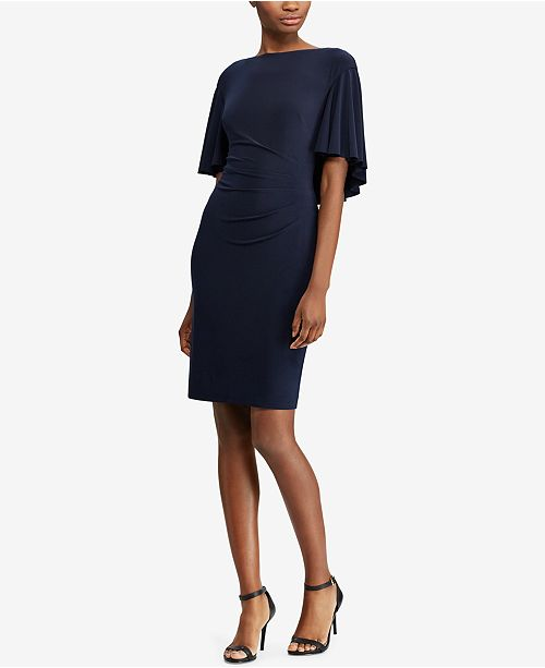 4c992e9ca8a4 ... Lauren Ralph Lauren Cape-Overlay Sheath Dress