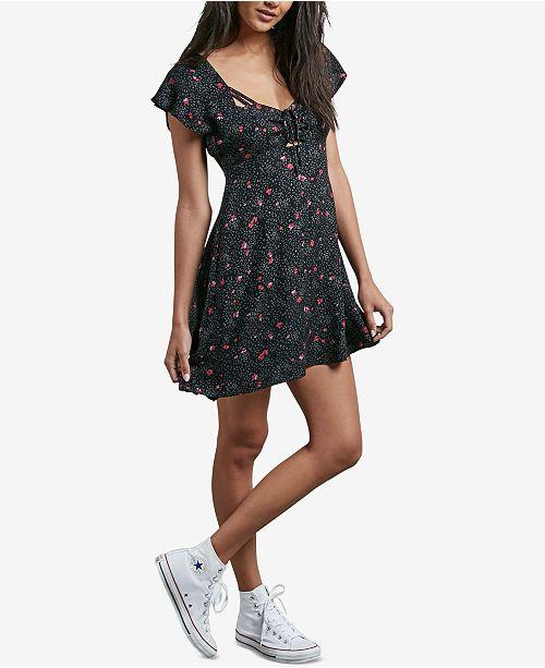 bac46c56ae0 Volcom Juniors  It s A Cinch Printed Empire-Waist Dress   Reviews ...