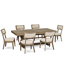 Rachael Ray Highline Expandable Dining Furniture, 7-Pc. Set (Trestle Dining Table & 6 Side Chairs)