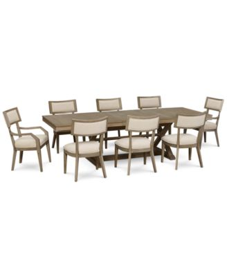 Rachael Ray Highline Expandable Dining Furniture, 9-Pc. Set (Trestle Dining Table, 6 Side Chairs & 2 Arm Chairs)