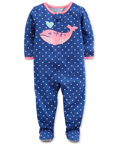 Carter's Whale Dot-Print Footed Pajamas, Baby Girls