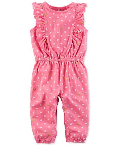 Carter's Dot-Print Cotton Jumpsuit, Baby Girls