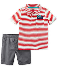 Carter's 2-Pc. Striped Cotton Polo & Shorts Set, Baby Boys