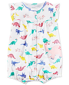 Carter's Dinosaur-Print Cotton Romper, Baby Girls