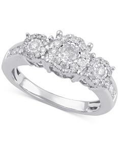 Diamond Three Stone Engagement Ring (3/4 ct. t.w.) in 14k Gold