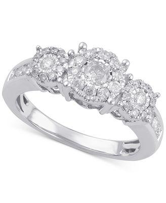 Macy S Diamond Three Stone Engagement Ring 3 4 Ct T W In 14k
