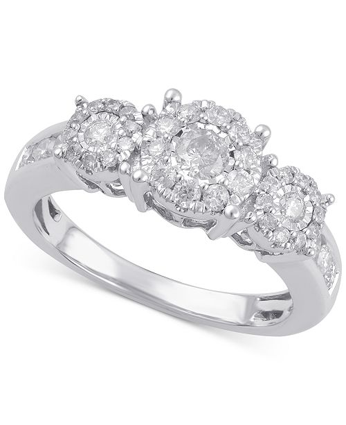 96ac84a60 Macy's Diamond Three Stone Engagement Ring (3/4 ct. t.w.) in 14k ...