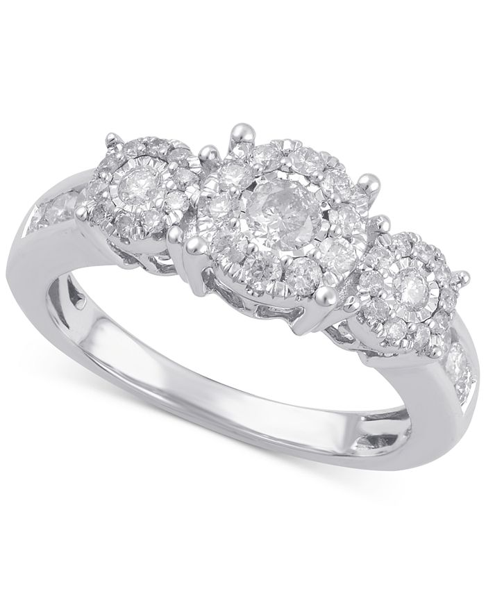 Macy's - Diamond Three Stone Halo Engagement Ring (3/4 ct. t.w.) in 14k Gold, White Gold or Rose Gold