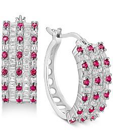 Cubic Zirconia Small Huggie Hoop Earrings in Sterling Silver
