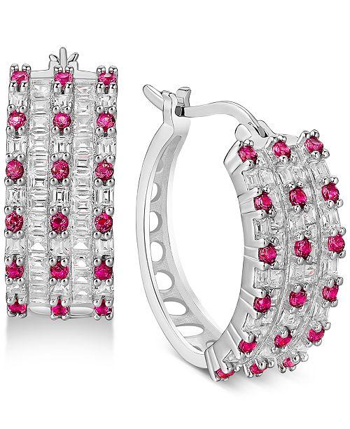 Macy's Cubic Zirconia Small Huggie Small Hoop Earrings  s in Sterling Silver