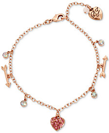 Betsey Johnson Rose Gold-Tone Multi-Stone Heart & Arrow Ankle Bracelet