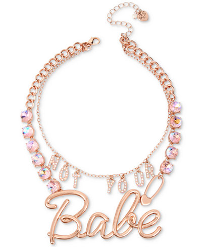 Betsey Johnson Rose Gold-Tone Crystal