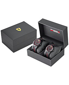 Ferrari Men's Red Rev Black Silicone Watches 38mm & 44mm Gift Set
