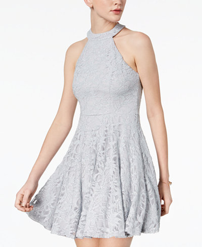 B Darlin Juniors Glitter Lace Fit Amp Flare Dress Juniors