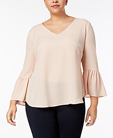 NY Collection Plus Size Lantern-Sleeve High-Low Blouse