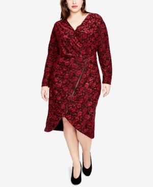 Rachel Rachel Roy Downs TRENDY PLUS SIZE PRINTED FAUX-WRAP ZIP DRESS