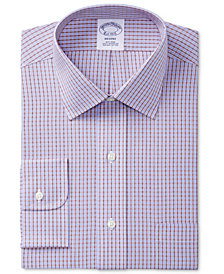 Brooks Brothers Men's Regent Slim-Fit Non-Iron Red Double Windowpane Check Dress Shirt