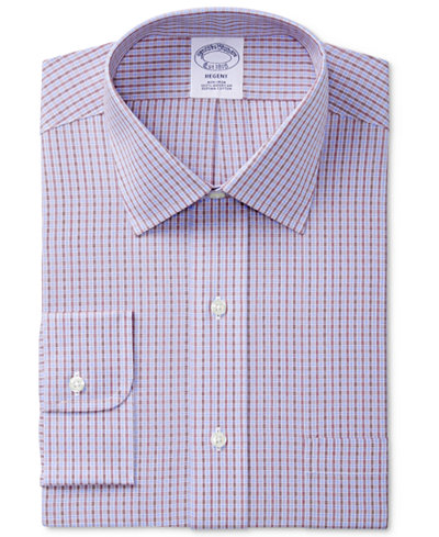 Brooks Brothers Men's Regent Classic/Regular Fit Non-Iron Red Double Windowpane Check Dress Shirt