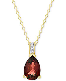 Rhodolite Garnet (1-3/4 ct. t.w.) & Diamond Accent Pendant Necklace in 14k Gold-Plated Sterling Silver