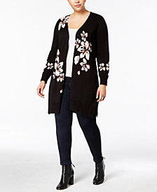 NY Collection Plus Size Floral-Print Duster Cardigan