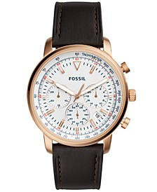 Men's Chronograph Goodwin Brown Leather Strap Watch 44mm