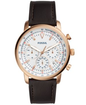 FOSSIL Men'S Chronograph Goodwin Brown Leather Strap Watch 44Mm in Brown/ White/ Rose Gold