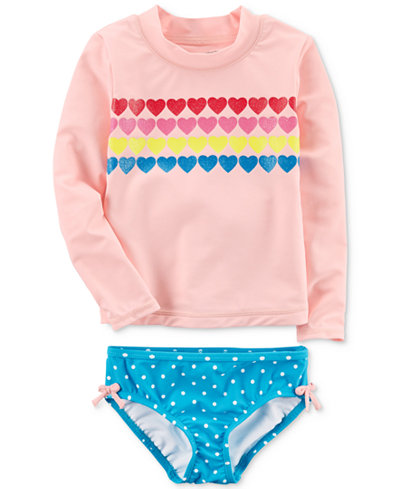 Carter's 2-Pc. Hearts Rash Guard Swimsuit, Little Girls & Big Girls